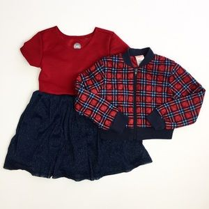 Girls Two Piece Navy Red Sparkle Dress Jacket Set